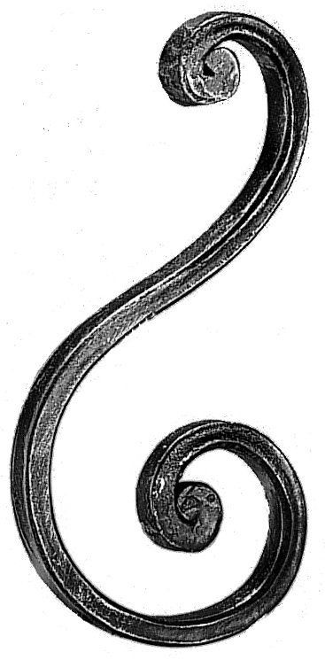 """'S' Scroll (8-7/8""""x4"""",Mtl.5/8""""x5/16"""")"""