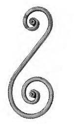 """'S' Scroll(4-3/4""""W,11-7/16""""H,Mtl.1/2""""Rd)"""
