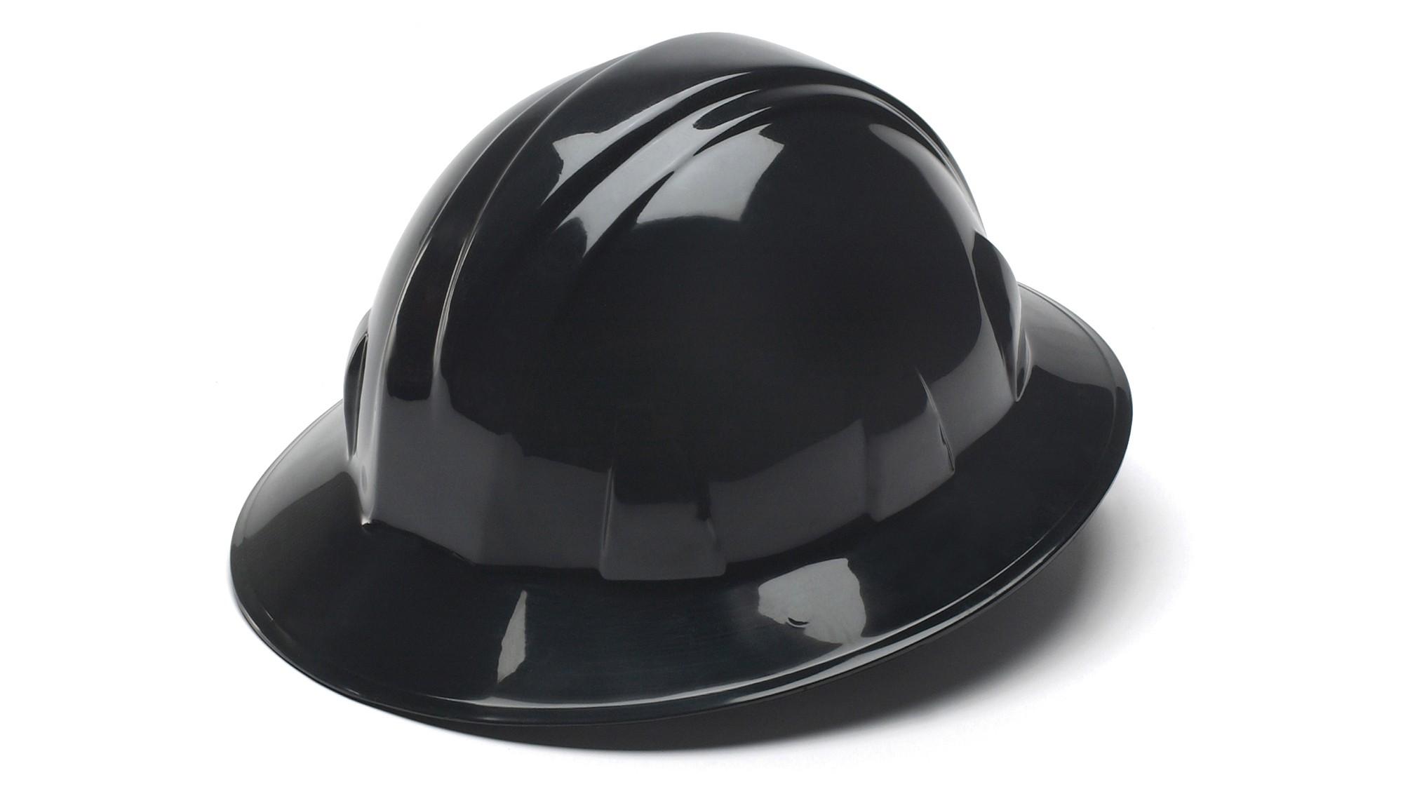Hard Hat Full Brim,4-Point Ratchet,BLACK